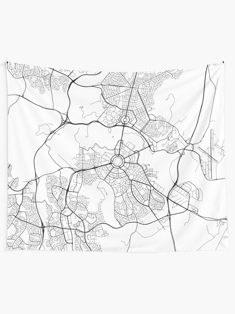 Map Canberra Australia.Canberra Map Australia Black And White Wall Tapestry