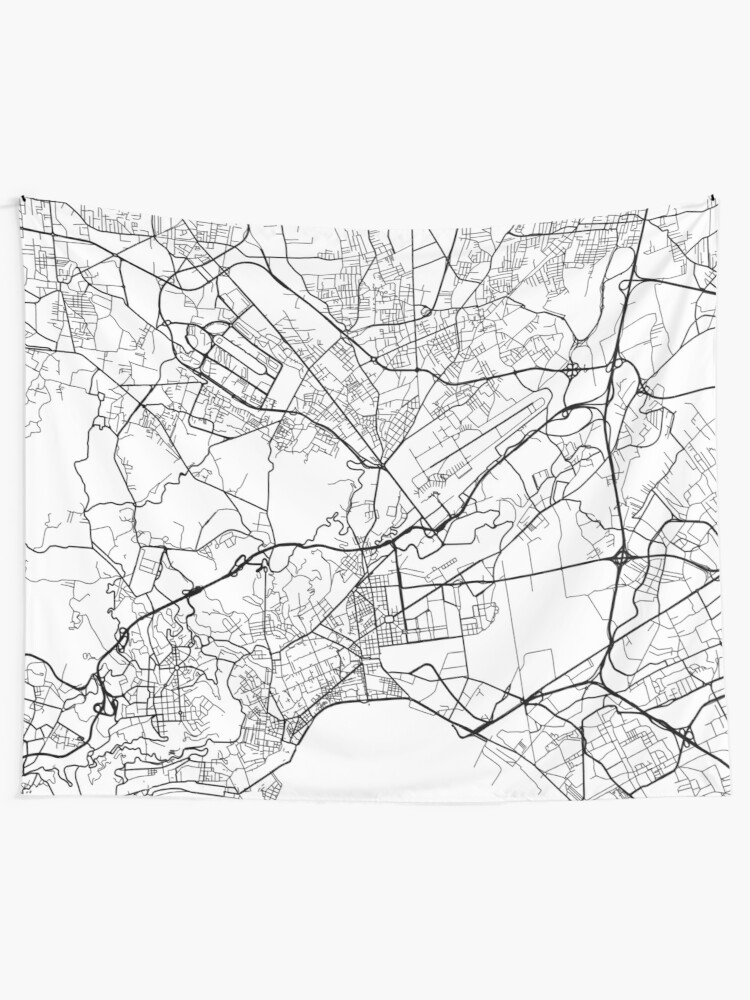 Map Of Italy Black And White.Naples Map Italy Black And White Wall Tapestry