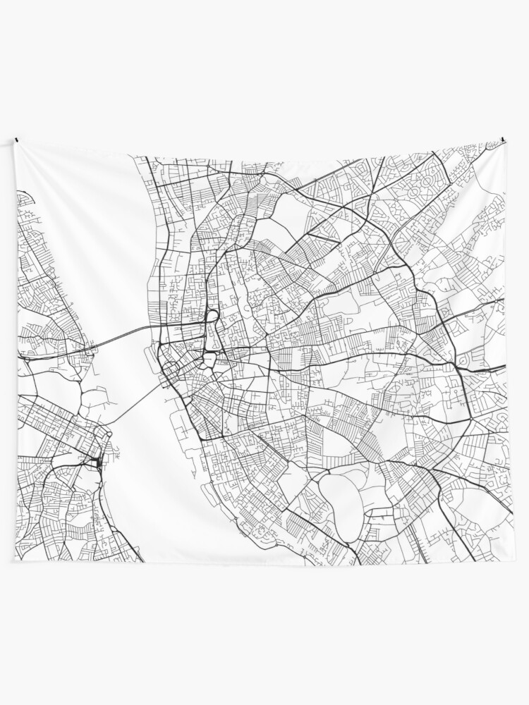 Liverpool Map Of England.Liverpool Map England Black And White Wall Tapestry