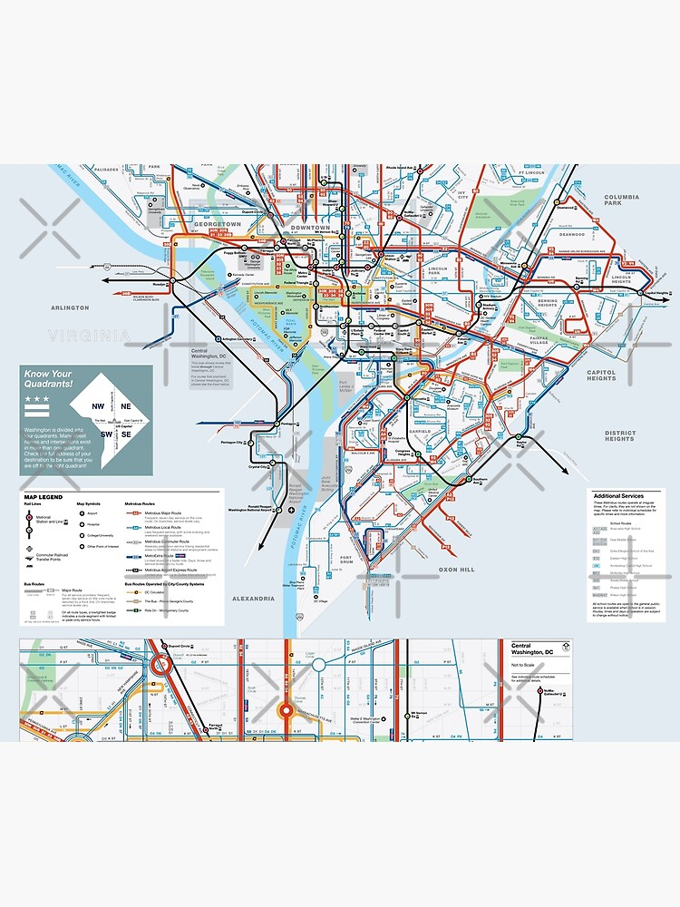 United States of America - Washington DC - Metrobus System Map - HD | Duvet  Cover