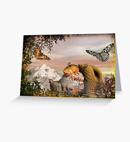 Seashells & butterflies island  Greeting Card