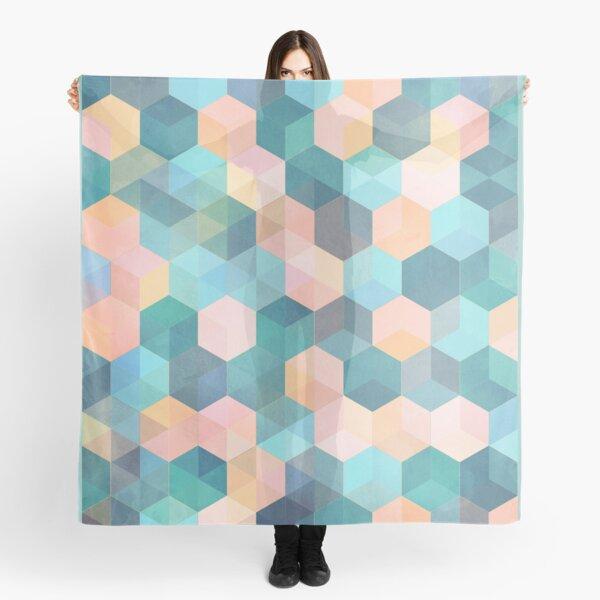 Child's Play 2 - hexagon pattern in soft blue, pink, peach & aqua Scarf