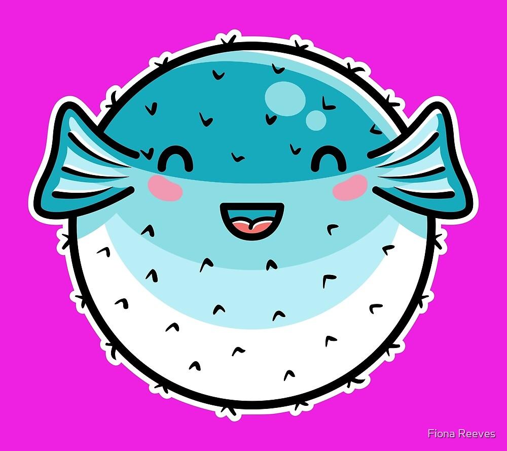 Kawaii Cute Puffer Fish by Fiona Reeves