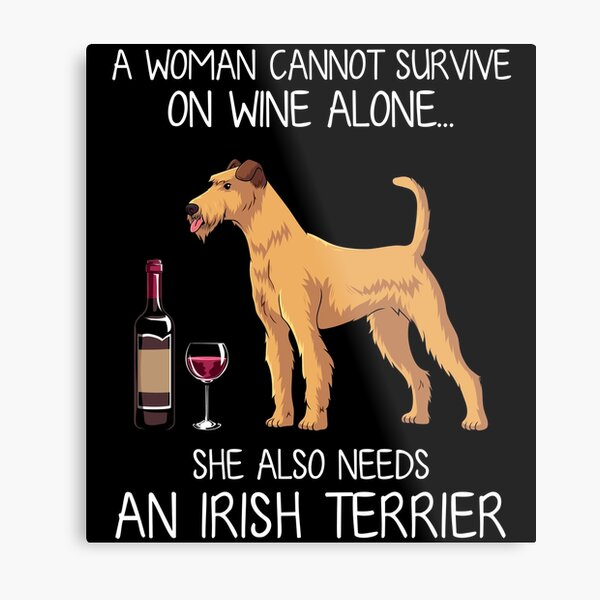 Irish Terrier and wine Funny dog Metal Print