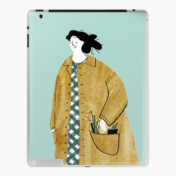 Girl walking with flowers in her pocket iPad Skin
