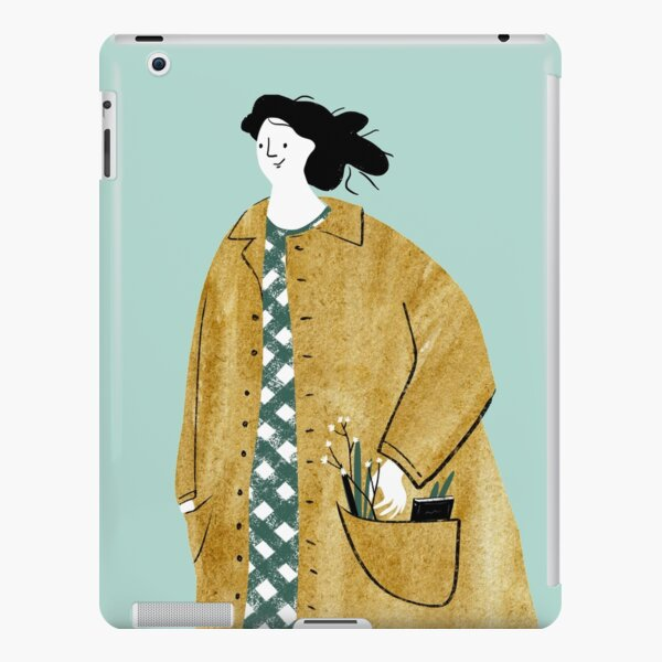 Girl walking with flowers in her pocket iPad Snap Case