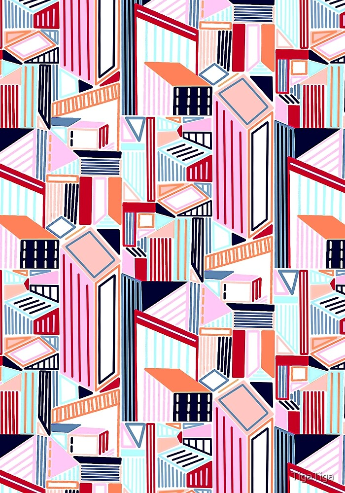 Abstract Minimalist City (Peachy Pastel & Red)  by TigaTiga
