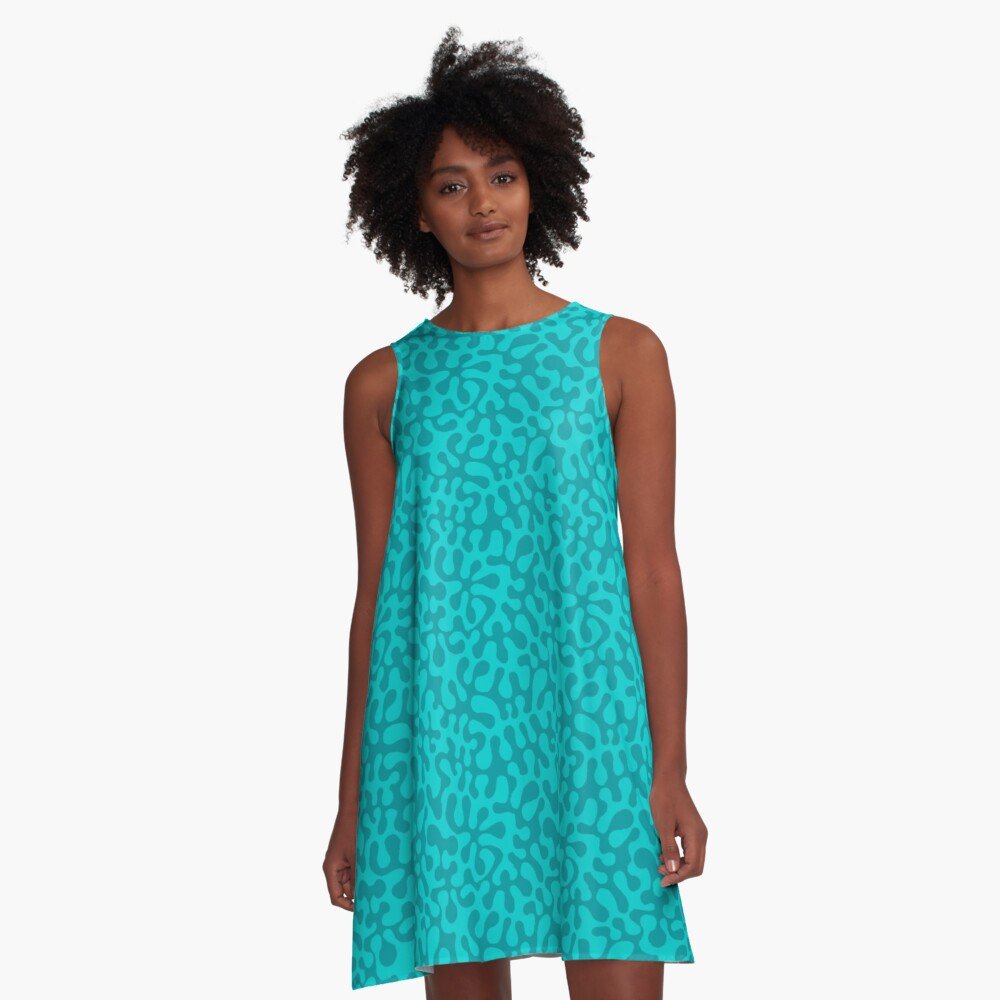 Abstract retro summer teal groovy pattern A-Line Dress