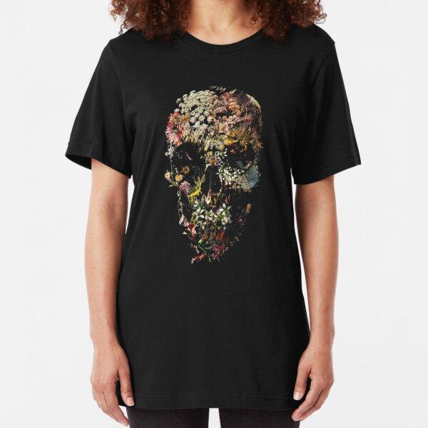 skull flower Slim Fit T-Shirt
