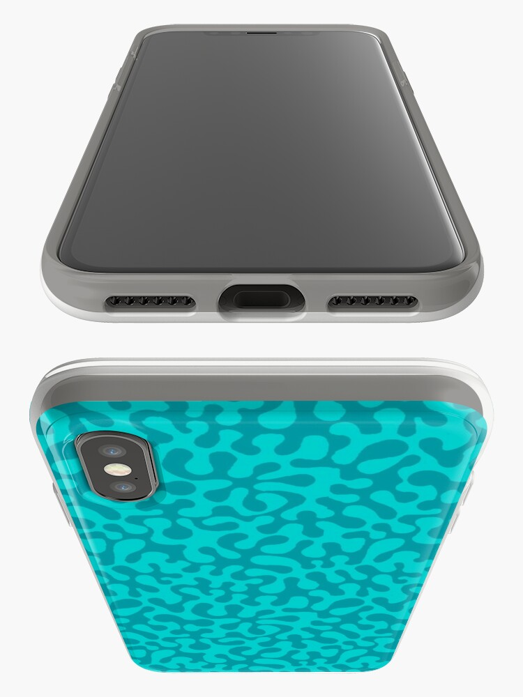 Alternate view of Abstract retro summer teal groovy pattern iPhone Case & Cover