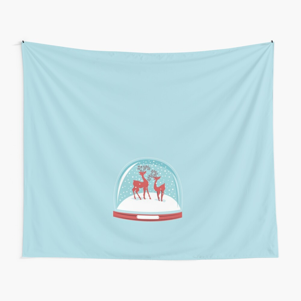 Snow-globe Couple Deer Wall Tapestry