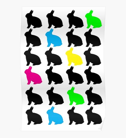 Colorful Bunnies Poster