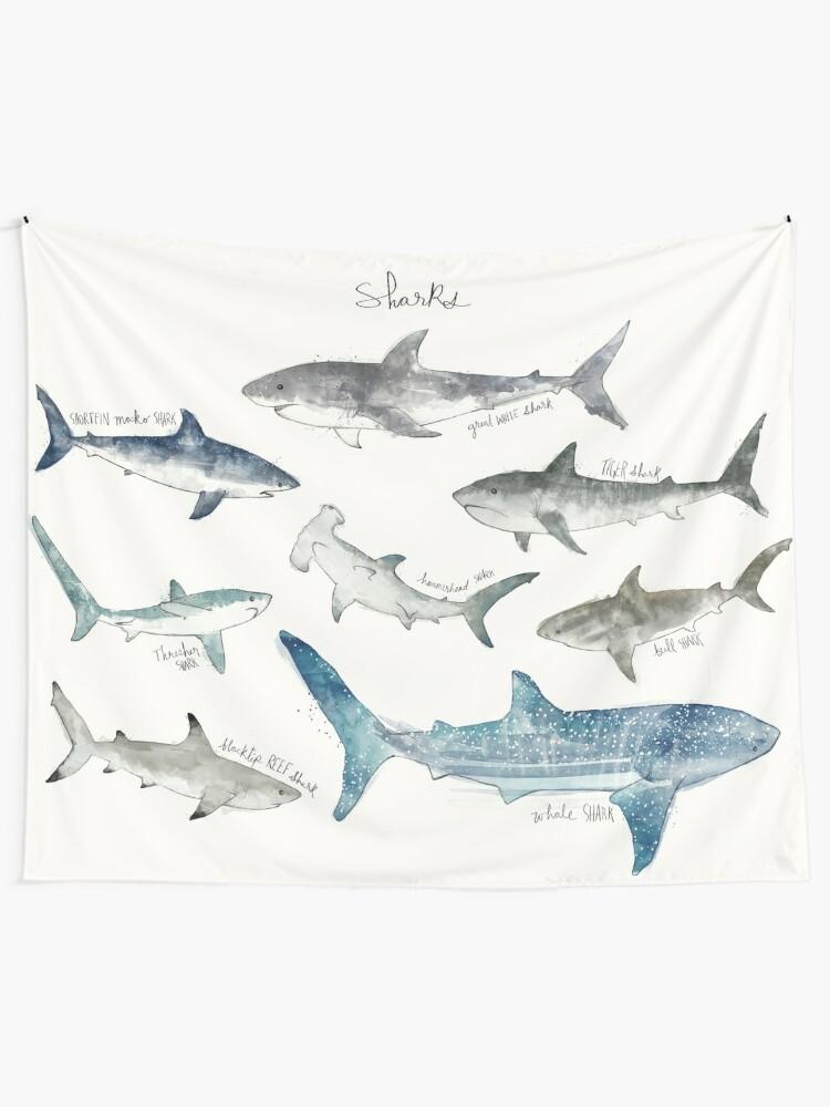 Alternate view of Sharks - Landscape Format Tapestry