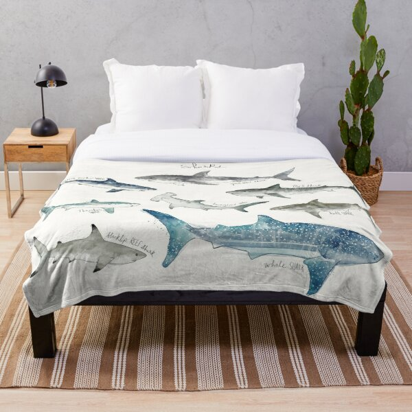 Sharks - Landscape Format Throw Blanket