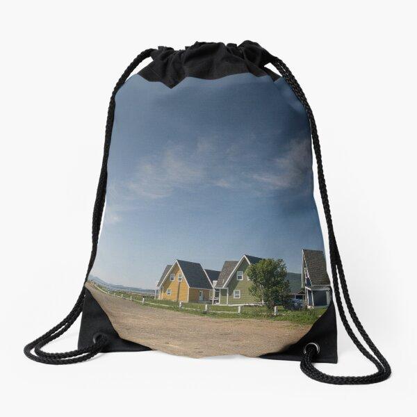 Homes by the sea, Gaspésie, Québec, Canada. Drawstring Bag