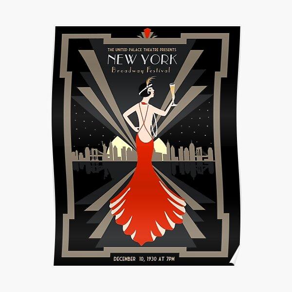 NEW YORK : Vintage 1930 Broadway Festival Advertising Print Poster