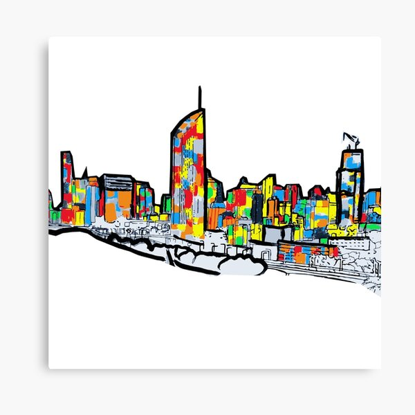 Bright Brisbane City Skyline  Canvas Print