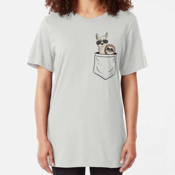 Funky Faultier & Hipster Lama mit Sonnenbrille in Tasche Slim Fit T-Shirt