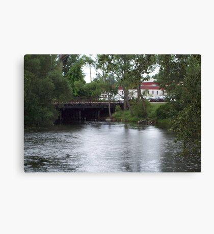 and old train Bridge in Grayling Michigan  Canvas Print