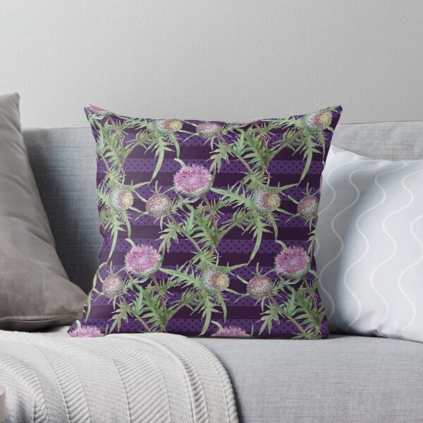 Thistle violet flowers and purple stripes Throw Pillow