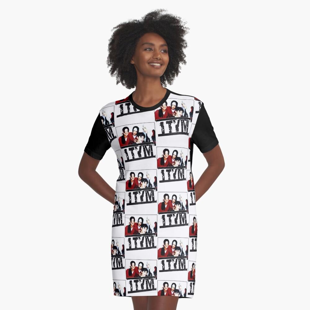 1tym smiles 원타임 90s kpop Graphic T-Shirt Dress