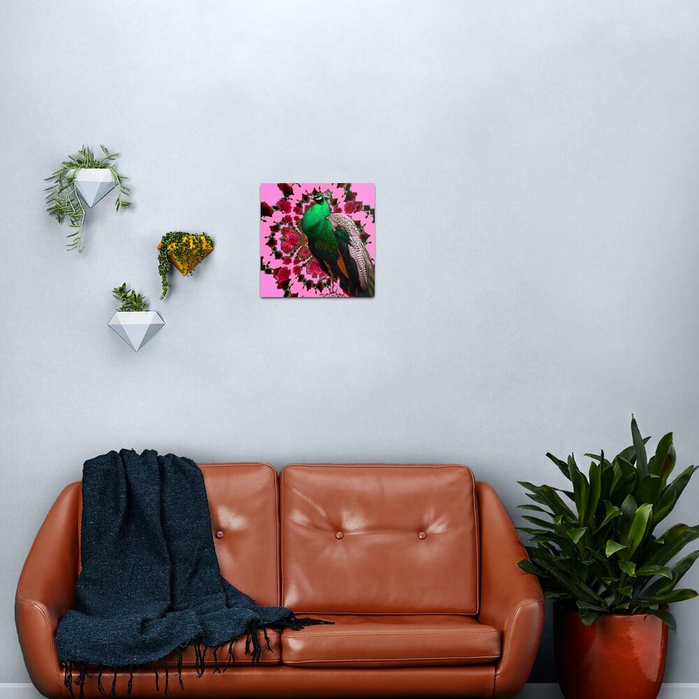 PINK ART DECO GREEN PEACOCK PINK ROSES ART Metal Print