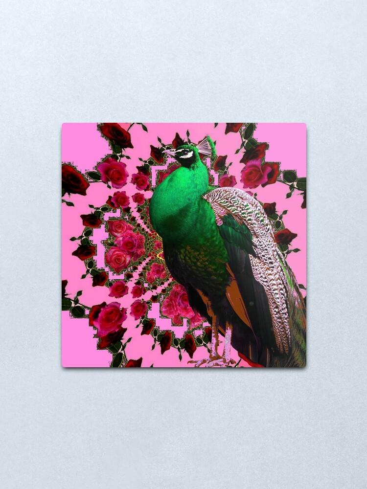Alternate view of PINK ART DECO GREEN PEACOCK PINK ROSES ART Metal Print