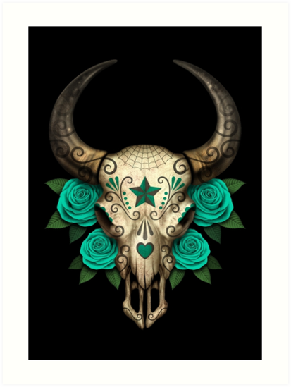Bull Sugar Skull with Teal Blue Roses by jeff bartels