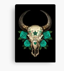 Bull Sugar Skull with Teal Blue Roses Canvas Print