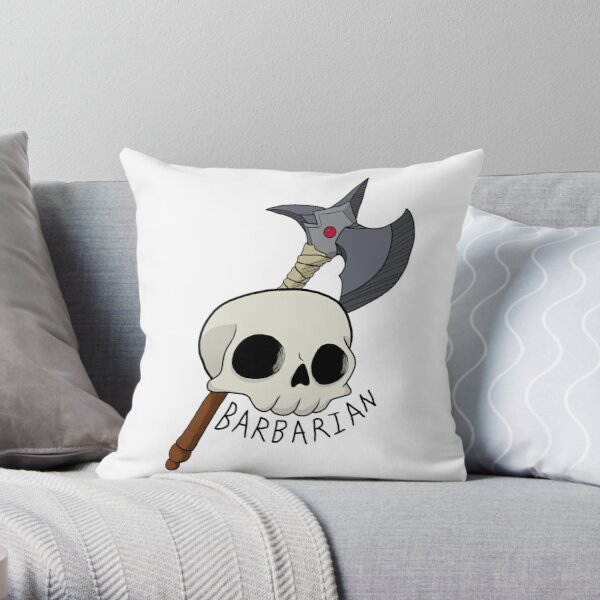 Barbarian Skull D&D Class Throw Pillow