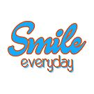 Smile Everyday, Positive Saying, blue and orange, by Alma-Studio