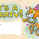It's a party - Invitation with jumping cat. by KenRinkel