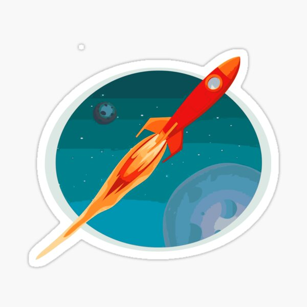 Asteroid Day and space ship flaying Sticker