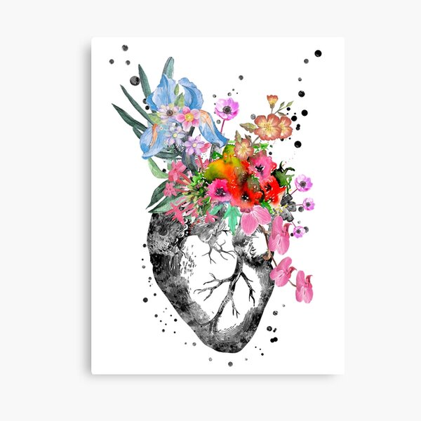 Anatomical heart with flowers, heart Canvas Print