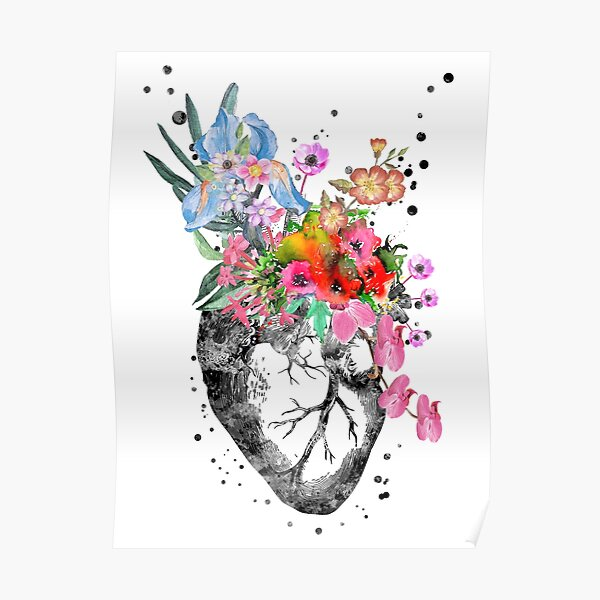 Anatomical heart with flowers, heart Poster
