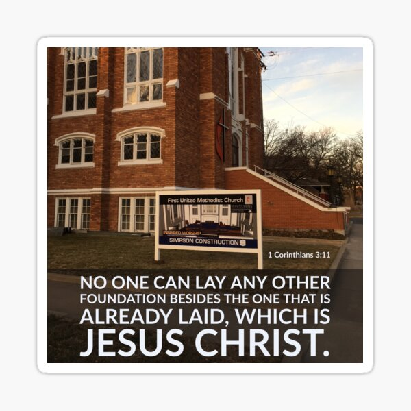 No Other Foundation - Verse Image from 1 Corinthians 3:11 Sticker