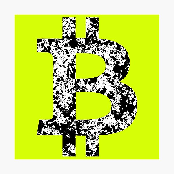 'Bitcoin Splatter' in black and white Photographic Print