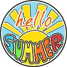Hello Summer, Summer T Shirt, rounded sticker,  by Alma-Studio