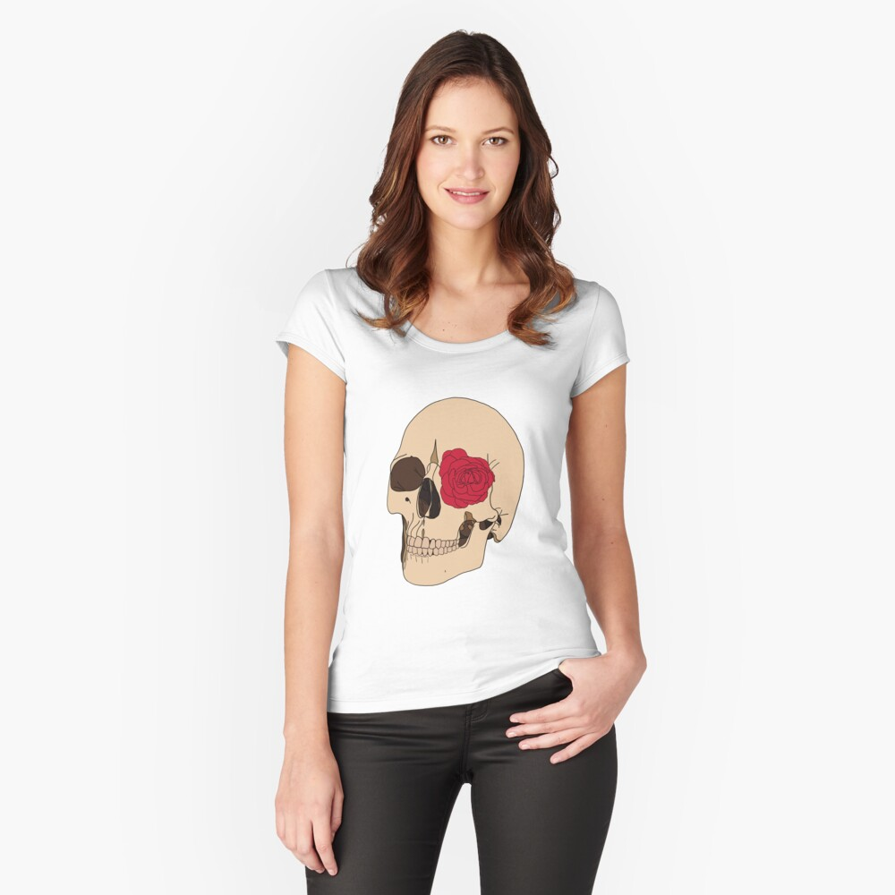 A Skull & a Rose Fitted Scoop T-Shirt