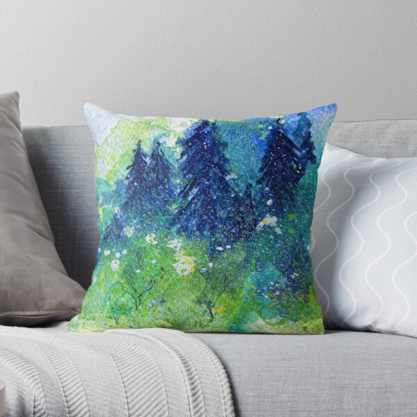 Tree Series - The Pine Trees by Heather Holland Throw Pillow