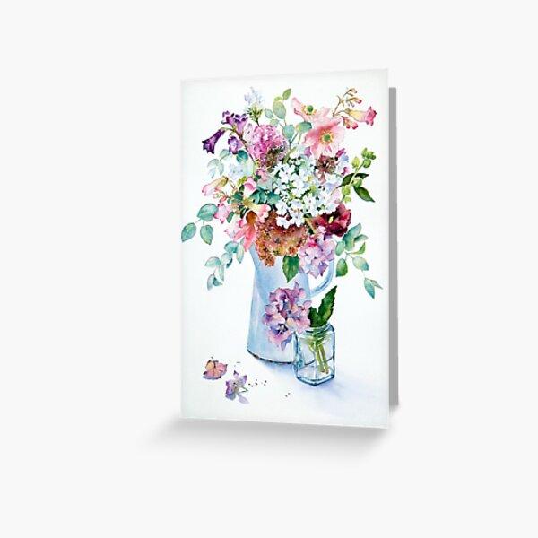 Phlox and Hydrangeas Greeting Card