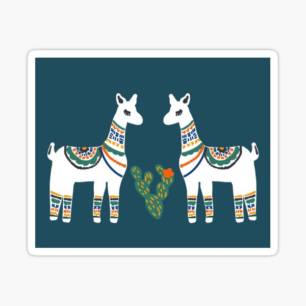 Teal llama love you mama Sticker
