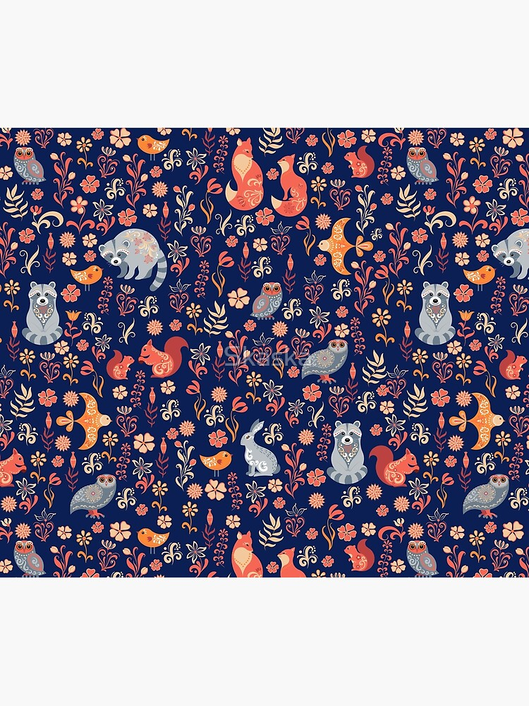 Fairy-tale forest. Fox, bear, raccoon, owls, rabbits, flowers and herbs on a white background. Seamless pattern. by Skaska