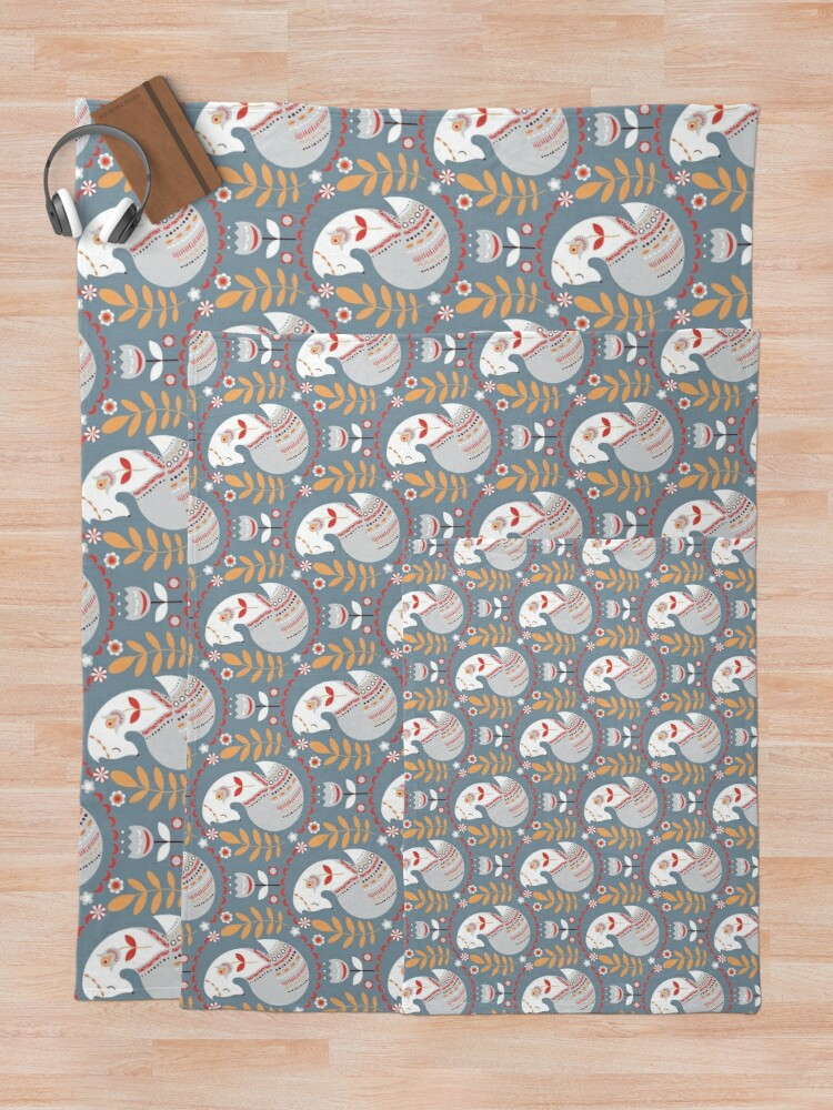 Alternate view of Seamless pattern with foxes and flowers on a grey background. The Scandinavian style. Throw Blanket