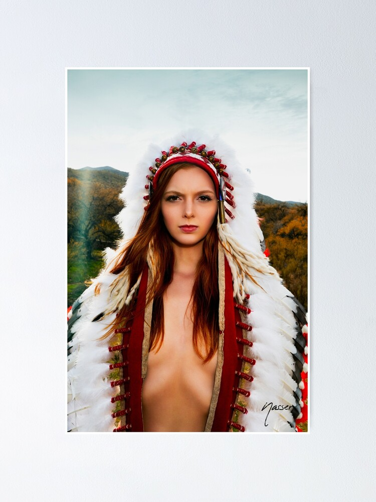 Alternate view of Nude Serenity 2668 - SurXposed - Nude Redhead posing in American Indian Headdress in the Arizona cactus desert Poster