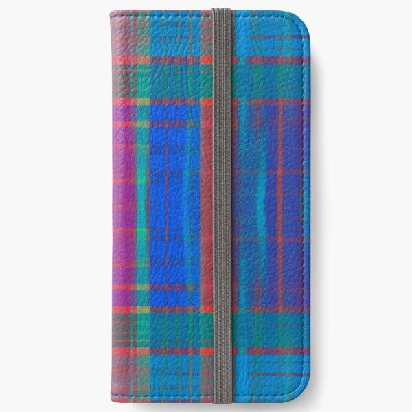 Teal Plaid iPhone Wallet