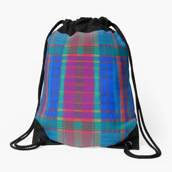 Teal Plaid Drawstring Bag