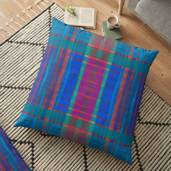 Teal Plaid Floor Pillow
