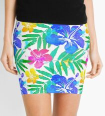 Vivid colors bright tropical flowers watercolor pattern Mini Skirt