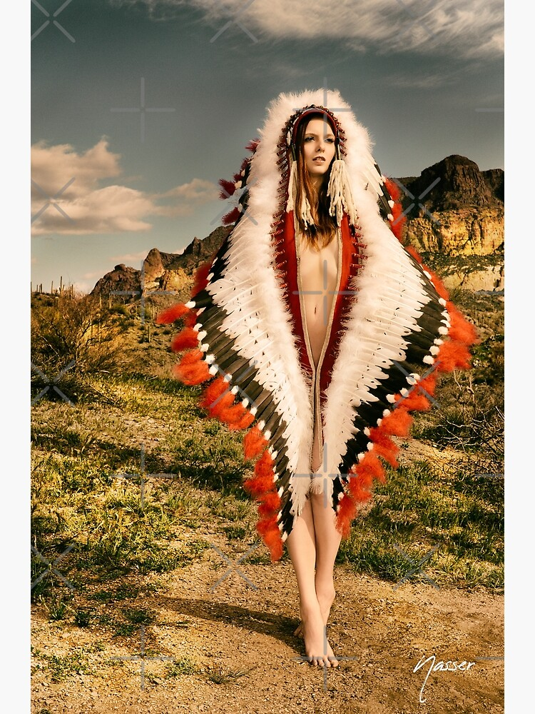 Adorned Feathered Nude 2714 - SurXposed - Classy Girl in Indian Headdress Costume by SURXPOSED